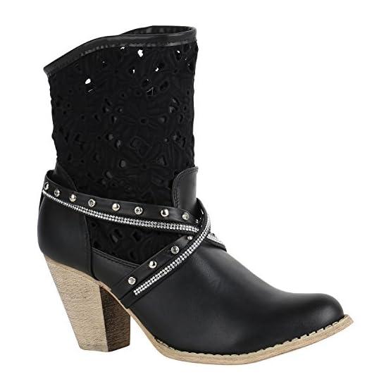 410QV88J5EL. SS555  - Stiefelparadies Damen Stiefeletten Cowboy Boots mit Blockabsatz Flandell