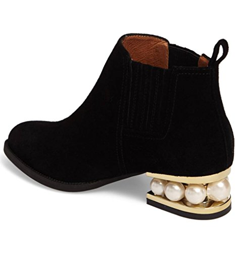 Bootie Women's Black Slip Low Western Almond Boot Casual Ankle Toe Heel Stack On Up Madeline Round Zip Pearl qrqCw10