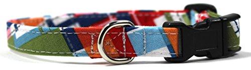 Lake House Plaid, Summer Shirt Pattern Designer Dog Collar, Adjustable Handmade Fabric Collars (XS) by Ruff Roxy
