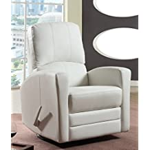 Swivel/Rocker Leather Recliner-Nursery-All Leather in Off White