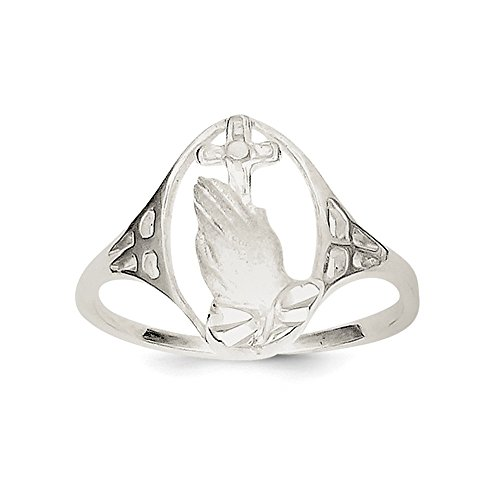 .925 Sterling Silver Religious Praying Hands And Cross Ring