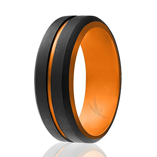ROQ Silicone Rings - 4 Packs/Single Band - Mens Silicone Rubber Wedding Band - Engraved Middle Line Beveled Edge Style Duo Collection - Black, Orange Colors- Size - Silicone Duo