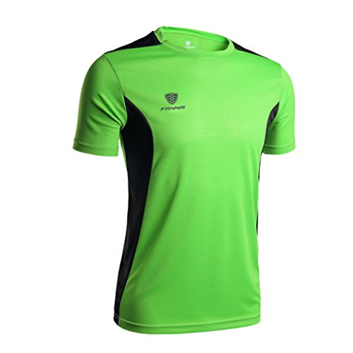 Price comparison product image Promotions! Mens JSPOYOU V-neck Short-sleeved T-shirt Workout Leggings Fitness Sports Gym Running Yoga Athletic Shirt (L,  Green)