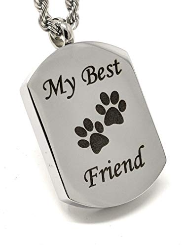 Katie Collection by Urnseller My Best Friend Paw Print pet Keepsake Jewelry Memorial Necklace Chain for Men and Women ()