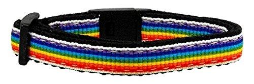 Mirage Pet Products Rainbow Striped Nylon Collars Rainbow Stripes Cat Safety