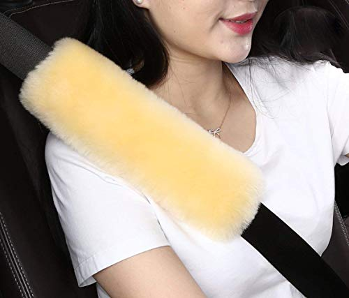 Dotesy 2pcs Auto Seatbelt Shoulder Pads,Soft Australian Sheepskin Wool Car Seat Belt Cover Backpack Strap Cushion for Adults Youth Baby Kids Car Truck SUV Airplane Travel - Orange Airplanes