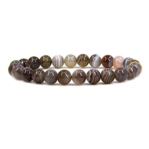 (Natural Botswana Agate Gemstone 8mm Ball Beads Stretch Bracelet 7