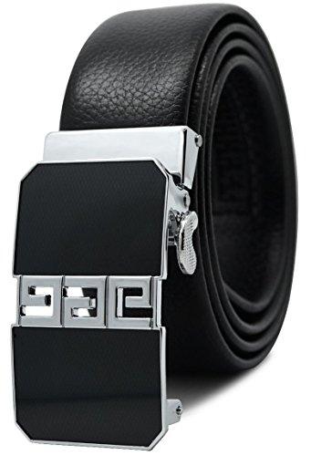 Greek Belt Buckles - Men's Ratchet Dress Belt Microfiber Leather, Greek Key 53a, Pant Sizes 39