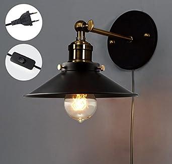 mur mtallique ajustable chandelier souple de 180 cordon intgr fil fiche interrupteur finition le style vintage loft industriel mur lampe pour - Interrupteur Style Industriel