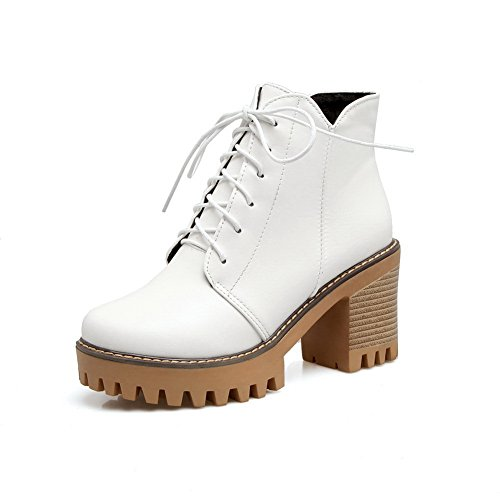 Warm Urethane Strap Lining AN Road Manmade Boots A Up Lace Insulated Heeled amp;N Boots White DKU01820 Womens Platform Waterproof Adjustable 8wvPqag8O