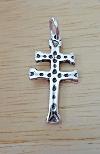Cross French Sterling Silver (Sterling Silver 25x12mm Double Bar Patriarchal French Cross of Lorraine Charm)