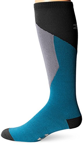 Under Armour Men's ColdGear Color Block Thin Over-the-Calf Socks (1 Pair), Pirate Blue/Steel Grey, Youth (Calf Western Dress Socks)