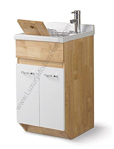 sink ALEXANDER 18'' OAK Utility Sink - Modern Mop Slop Tub Deep Sink Ceramic Laundry Room Vanity Cabinet Contemporary Hardwood Hard Wood by www.LuxuryModernHome.com
