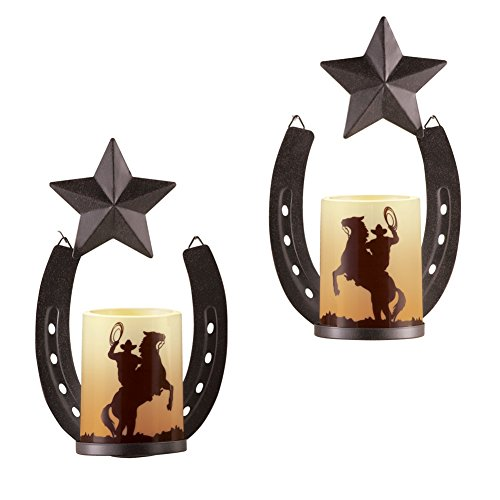 Metal Horseshoe Cowboy Wall Candles