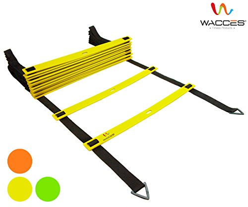 Wacces Adjustable Agility Ladder for Soccer, Speed, Football, Fitness with Carry Bag (12 Rungs - Yellow)