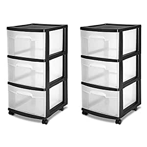 Sterilite 3 Drawer Storage Cart Plastic Black (Case of 2) (Black)