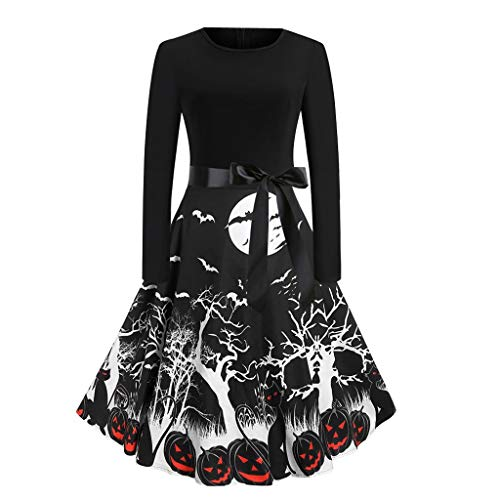 Womens Dresses Fashion Costume Halloween Print O-Neck Long Sleeve Bow Party Evening Cosplay Carnival Wear Black L