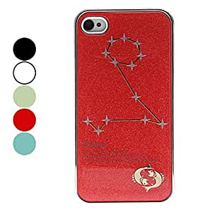 Frosted Pisces Constellation Pattern Hard Case for iPhone 4/4S (Assorted Colors) --- COLOR:White