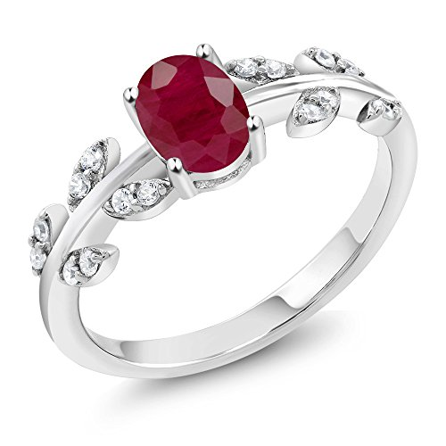Red Ruby & White Diamond 10K White Gold Olive Vine Ring 1.13 Ct Oval (Size 8)