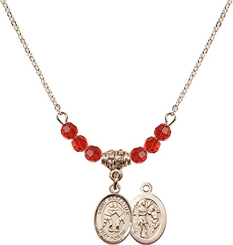 18-Inch Hamilton Gold Plated Necklace with 4mm Ruby Birthstone Beads and Gold Filled Saint Sebastian/Wrestling Charm. by F A Dumont