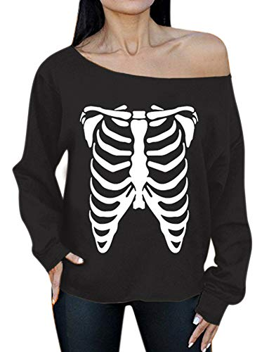 Halloween Costume Women Long Sleeve Sweatshirts Off Shoulder Pumpkin Graphic Casual Top Skeleton L -