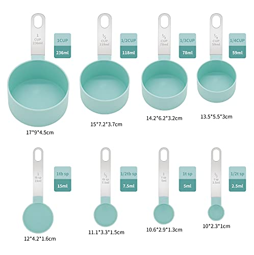 Measuring Cups and Measuring Spoons Kitchen gadgets set Measuring spoon with stainless steel handle 8-piece set of necessary measuring tools for baking Stackable Wet and dry (Light blue)