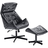 HomCom Designer Inspired Classic Lounge Chair & Ottoman Set - Black