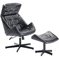 HomCom Designer Inspired Classic Lounge Chair & Ottoman Set - Black