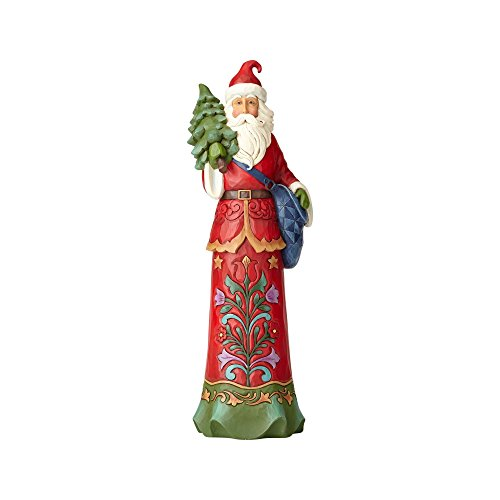 Santa Pencil Figurines (Enesco Jim Shore Heartwood Creek Filling a Tall Order Santa with Tree Stone Resin, 15