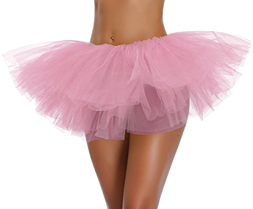 Women's, Teen, Adult Classic Elastic 3, 4, 5 Layered Tulle Tutu Skirt (One Size, Pink 5Layer)
