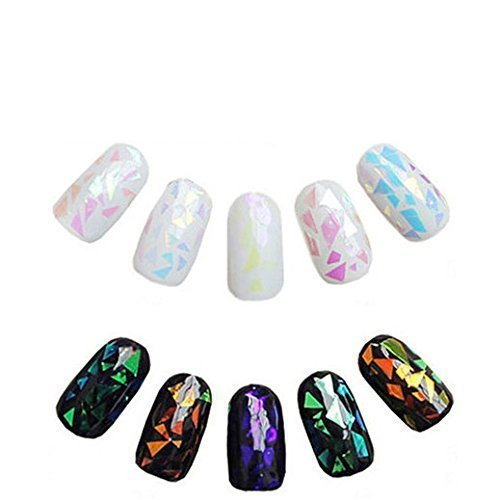 GBSTORE 6 Colors Newest Broken Glass Foils Finger DIY Nail Art Stencil Decal Stickers