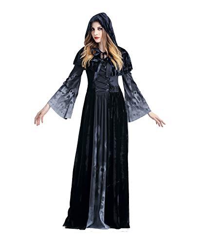 BTChoice Women's Vampire Skull Printed Dress Halloween Theme Party Costume (Medium)