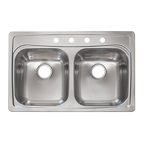 Kindred FFG804NB 8'' Deep Stainless Steel Double Bowl Topmount Kitchen Sink, 20 g by KINDRED