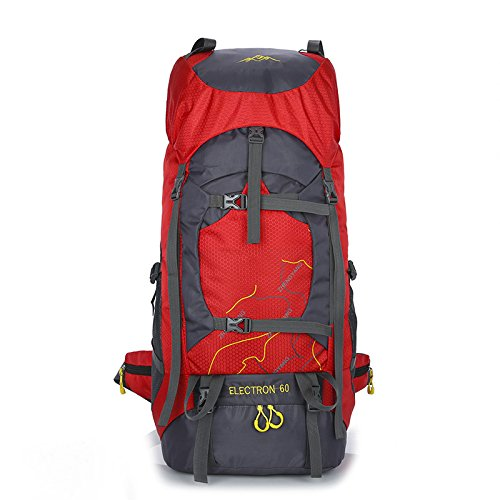 Toyis 60L Sac à dos de voyage Trekking randonnée alpinisme escalade Camping Sac à dos pour homme femme Taille unique red