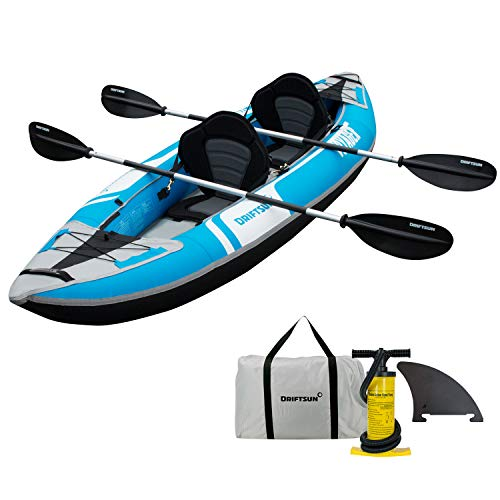 Driftsun Voyager 2 Person Tandem Inflatable Kayak, Includes 2 Aluminum Paddles, 2 Padded Seats, Double Action Pump and More 2 Person Travel Kayak