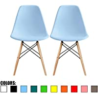 2xhome - Set of Two (2) Blue - Eames Style Side Chair Natural Wood Legs Eiffel Dining Room Chair - Lounge Chair No Arm Arms Armless Less Chairs Seats Wooden Wood Leg