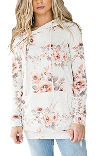 Angashion Women Hoodies-Tops- Floral Printed Long Sleeve Pocket Drawstring Sweatshirt with Pocket 0965 White S