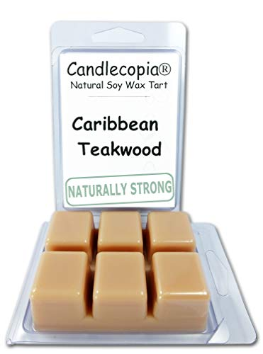 Candlecopia Caribbean Teakwood Strongly Scented Hand Poured Vegan Wax Melts, 12 Scented Wax Cubes, 6.4 Ounces in 2 x 6-Packs -