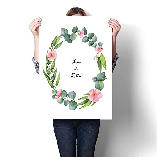 Anshesix Art-Canvas Prints Watercolor Hand Painted Oval Wreath with Green Eucalyptus and Pink Flowers Customizable Wall Stickers 20