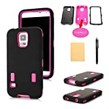 TIANLI(TM) 2 Spot Robot Design Armor Defender Full Body Protective Case Cover for Samsung Galaxy S5 SV i9600+[Screen Protector]+[Free Stylus]+[Cleaning Cloth] Black Pink