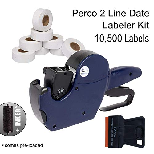 Perco 2 Line Date Gun Kit: Includes 16 Digits Label Gun, 10,500 White Labels, Inker Remover Tool, and Pre-Loaded Ink Roll (Date Stamp Kit)