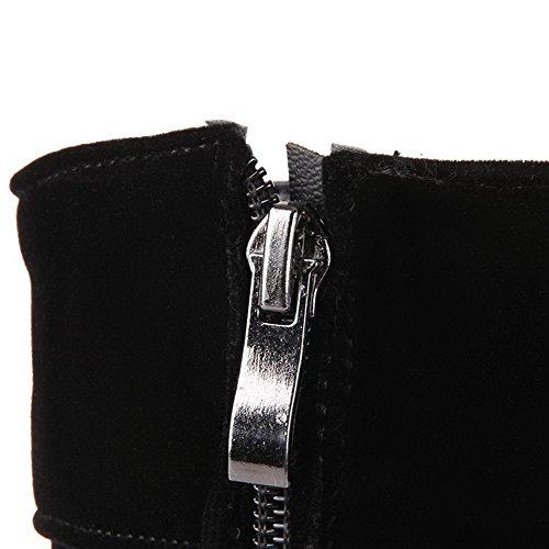 VogueZone009 Damen Hoher Absatz Rein Rund Zehe Reißverschluss Stiefel mit Beschlagene Strass Schwarz