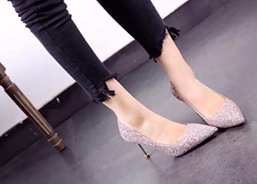 Fine Leisure Pink Shallow Work Mouth Heels A High Sequins Shoes Wedding With Lady 8Cm Spring Elegant MDRW Shoes 36 Ladies aqtP0O