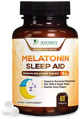 Melatonin Sleep Aid, Extra Strength Sleeping Pills 3mg - Fast Absorption Natural Sleeping Aid Supplement - Fall Asleep Faster & Sleep Longer, Chewable, Quick Dissolving, Drug-Free - 60 Tablets