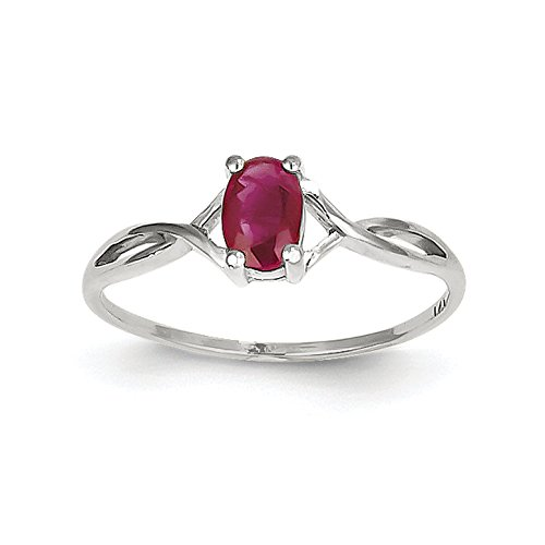 ICE CARATS 14k White Gold Red Ruby Birthstone Band Ring Size 7.00 July Oval Style Fine Jewelry Gift Set For Women Heart by ICE CARATS