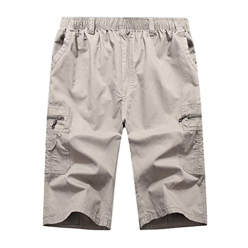 Men's Summer Casual Pure Color Loose Multi-Pocket Beach Calf-Length Sport Pants Gray ()
