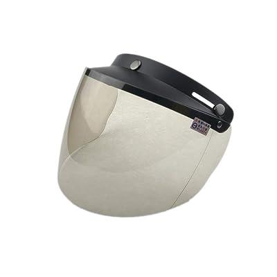 Wancar Retro Universal Standard 3-Snap Open Face Motorcycle Helmets Flip Up Face Visor Wind Shield Lens(Light Smoke): Automotive