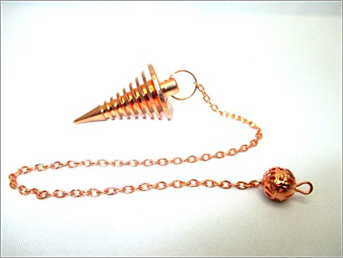 Glass Fusion Chip - Jet Copper Metal Hard Coil Twisted Pendulum Cone Vortex Chamber Reiki Wiccan Free Booklet Jet International Crystal Therapy Healing Dowsing A++ Metaphysical Spiritual Answers Occult Mystic