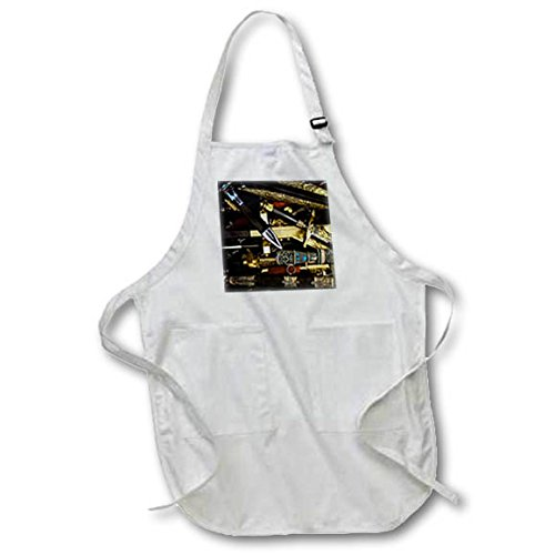 3dRose Alexis Photography - Objects Cold Steel - Cold steel - colorful vintage decorative arm blanche - Full Length Apron with Pockets 22w x 30l (apr_270853_1)