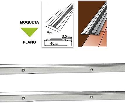 Acero Inoxidable, 100 cm Wolfpack 2540214 Tapajuntas atornillable para moqueta